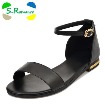 S.Romance Genuine Leather Women Sandals Plus Size 34-43 Fashion Flats Sandals Casual Buckle Strap Woman Shoes Black Gold SS769