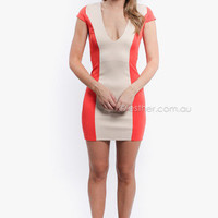 love is found playful nights dress - red/beige at Esther Boutique