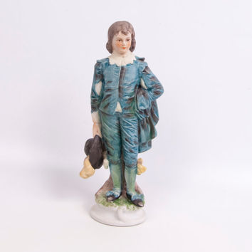 Vintage Norleans Japan Colonial Blue Boy Figurine Handpainted Bisque Statue Victorian Figurine