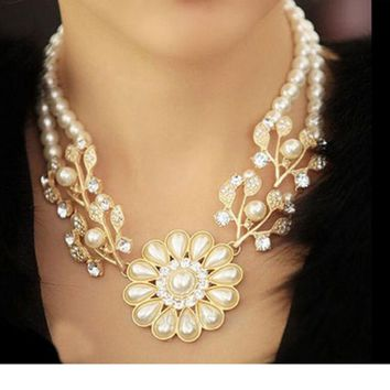 Colares 2018 Simulated Pearl Necklace for Women Fashion Gold color Beads Choker Necklaces Statement Jewelry Women Collier Femme