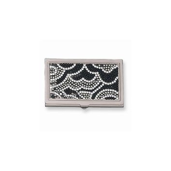 Black and White Swarovski Crystal Business Card Case - Engravable Gift Item