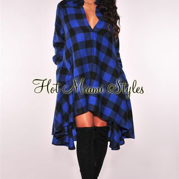 Blue Plaid Flared Dress