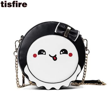 cute bags for girls cartoon print round bag summer chain crossbody bags for women leather handbags with bow shoulder bag purse