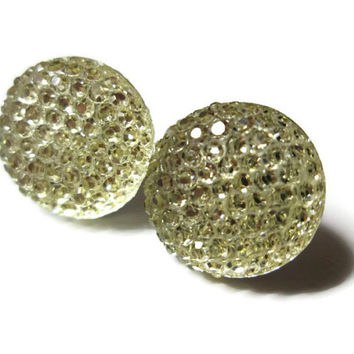Circle Stud Earrings, Champagne Clear, Geometric Jewelry, Round Shapes, Hypoallergenic