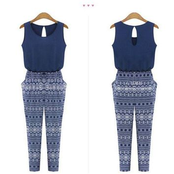 LMFIJ6 Sleeveless Summer Spring jumpsuits Pencil Long Ethnic boho Print Bodysuit Bule ladies Overalls monos for women hollow out