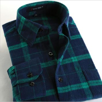 Putin Rider100%Cotton 2017 Hot New Men Plaid Long-sleeved Casual Shirts Flannel Slim Fit Spring Male Business Fashion