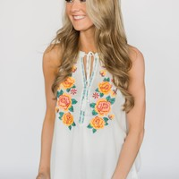 Floral My Heart Tank Top ~ Ivory