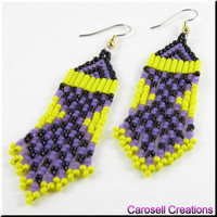 Native American Beaded Earrings Southwestern Beadwork in Yellow and Purple