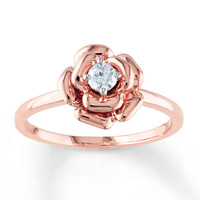 Diamond Flower Ring 1/8 Carat Round-cut 10K Rose Gold