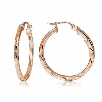 """Rose Gold Tone Over Sterling Silver Diamond-Cut .6"""" Small Square Hoop Earrings"""