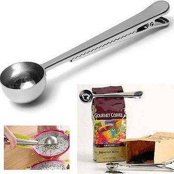 Home Multifunction Stainless Steel Coffee Scoop With Clip Coffee Tea Measuring Cup Ground Coffee Scoop Spoon