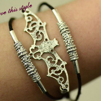 infinity-bracelet black wax bord Batman best friend Bridesmaid bracelet friendship gift 027