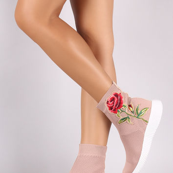 Liliana Floral Applique Knit High Top Sneaker Booties | UrbanOG