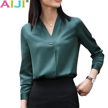 Winter elegant long sleeve blouses women OL career collar chiffon shirts tops ladies office business plus size work wear