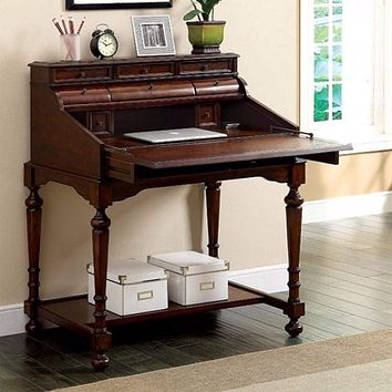 Desmont Transitional Style Secretary Desk With Multiple Drawers, Cherry