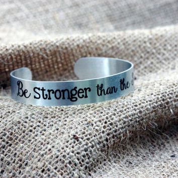 Inspirational Jewelry ~  Be STRONGER than the Storm ~ metal cuff bracelet to inspire ~ Mother's Day gift, Silver Cuff Bracelet, Easter Gift