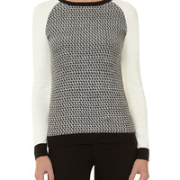 Black/ivory geo jumper - View All New In - What's New - Dorothy Perkins
