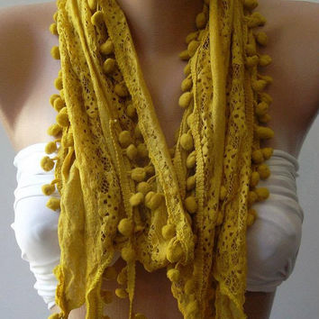 Dark Yellow - Elegance Shawl / Scarf with Lace Edge