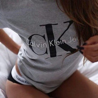 "[ On Sale ] "" CK "" Letters Print Short Sleeve Grey Solid Women Top Shirt Sweatshirt Blouse T-shirt _ 1887"