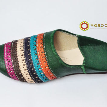 Moroccan Green Women Slippers Genuine Leather