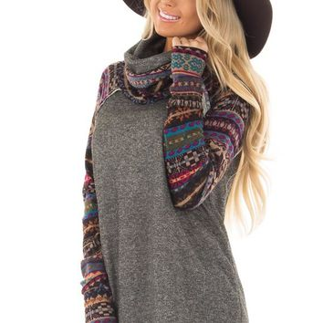 Charcoal Cowl Neck Sweater with Pattern Contrast