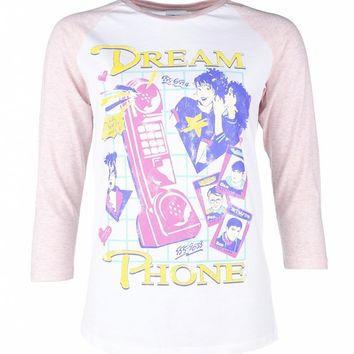 Women's White And Cream Heather Pink Dream Phone Raglan Baseball T-Shirt