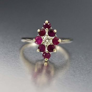 Superb 14K White Gold Diamond and Ruby Ring