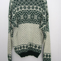 Vintage Nordic Snowflake Knit Sweater Acrylic Green Christmas pullover L XL