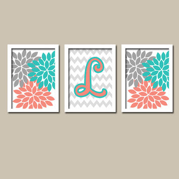 Turquoise Coral Wall Art CANVAS or Prints Nursery Girl Child Gray Monogram Flower Letter Initial Set of 3 Wall Chevron Bedroom