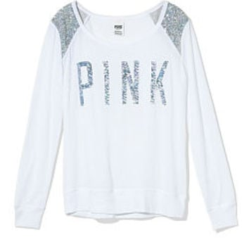 Bling Shrunken Long Sleeve Tee - PINK - Victoria's Secret