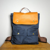 City Backpack in navy Canvas/ Brown Leather, School Bag, Laptop Bag / Made to Order