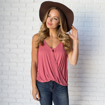 Inviting Jersey Wrap Tank In Coral