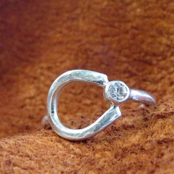 Sterling Silver Horseshoe Ring with Swarovski Crystal