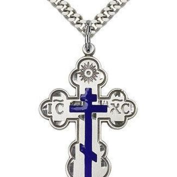 ".925 Sterling Silver Cross Necklace For Men On 24"" Chain - 30 Day Money Back ..."