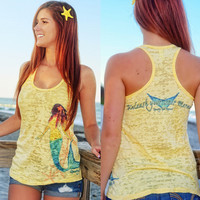 Yellow Mermaid burnout racerback tank top