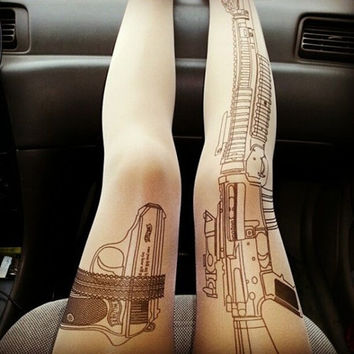 Gun Tights Machine Gun Tattoo Tights Stretch ONE SIZE