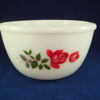 Pyrex June Rose Mixing Bowl Dish Vintage Glass JAJ White and Red Roses 1960 - 70s