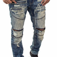 Antique Washed Distressed Biker Denim with Zippers by Smoke Rise