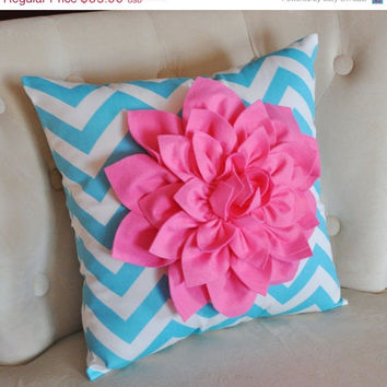MOTHERS DAY SALE Pink Dahlia on Girly Blue and White Zigzag Pillow -Chevron Pillow-