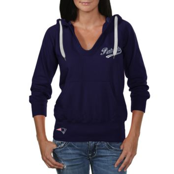 Touch by Alyssa Milano New England Patriots Ladies In the Bleachers Pullover Hoodie Sweatshirt - Navy Blue