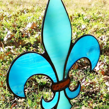 Stained Glass Fleur de Lis Blue and Teal Mardi Gras Sun Catcher, Free Shipping