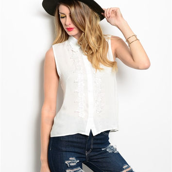 Women Fashion White Collared Button Down Blouse Top Sleeveless Crochet Casual