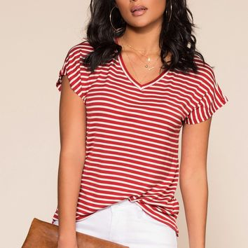 Tommi Striped Top - Red