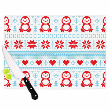 "KESS Original ""Pixel Penguin Holiday"" Christmas Pattern Cutting Board"