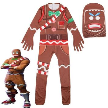 Cool Children's Gingerbread Man Cosplay Costume Party Halloween Christmas Costume for Kids Brithday Gift Boy's Fancy Jumpsuits MaskAT_93_12