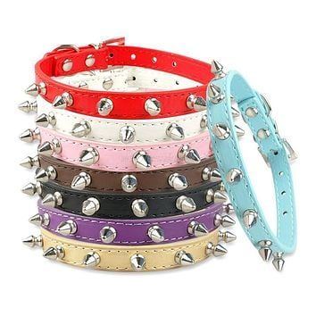 1 Row Cute Rivets Studded Dog Puppy Cat Collars For Small Dogs Necklace Neck for 8-18""
