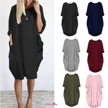 Women Plus Size S-5XL Pockets Summer TShirt Dress