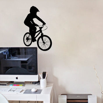 Housewares Wall Vinyl Decal Any Room Bike Sport Jumping Bicycle Cycle Mural Sticker V152