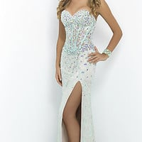 Strapless Lace Dress with Corset Bodice