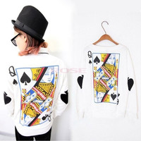 2014 Lady's Girl's Women's Poker Pullover Sweatshirt Long Sleeve Blouse Tops T-shirt White SV005640 Hoodie (Size: M, Color: White) = 1920216516